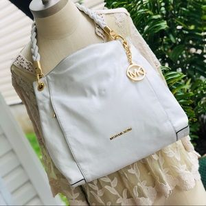 Michael Kors White Pebbled Leather Handbag